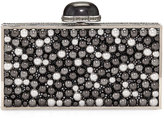 Judith Leiber Couture Perfect Rectangle Pearly Crystal Clutch Bag, Gray