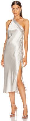 Mason by Michelle Mason Crystal Midi Dress in Platinum   FWRD