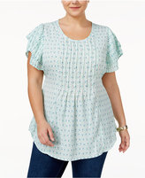 Melissa McCarthy Trendy Plus Size Flutter-Sleeve Tie-Back Top