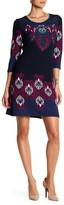 Boho Print 3/4 Sleeve Bodycon Sweater Dress