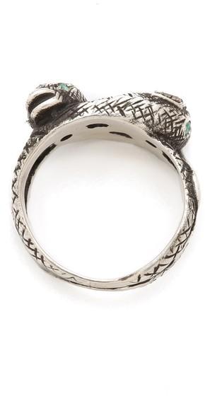 Pamela Love Snake Ring with Diamonds & Emeralds