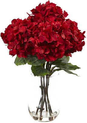 Nearly Natural 18In Red Hydrangea Silk Flower Arrangement With Glass Vase