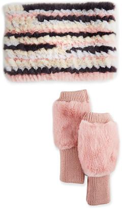 Jocelyn Faux-Fur Cowl & Mittens Gift Set, Pastel Multi