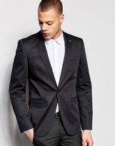 Asos Skinny Fit Blazer In Cotton Sateen In Washed Black