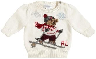 Ralph Lauren Bear Intarsia Cotton Blend Knit Sweater