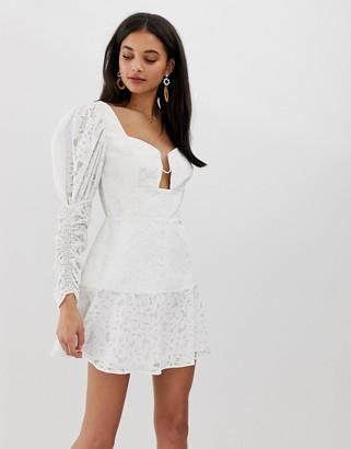 Finders Keepers Evie blouson sleeve mini dress-White