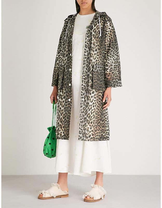 Ganni Cherry Blossom hooded PVC coat
