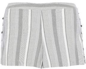 Haute Hippie Button-Detailed Striped Cotton-Blend Shorts
