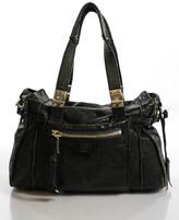 Gryson Dark Gray Leather Double Handle Hobo Handbag