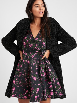 Banana Republic Floral Puff-Sleeve Wrap Dress