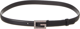 Gucci Rhinestone G Leather Belt