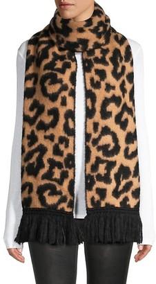 Jocelyn Leopard-Print Fringe Scarf