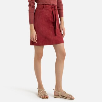 La Redoute Collections Straight Suede Skirt with Tie Belt