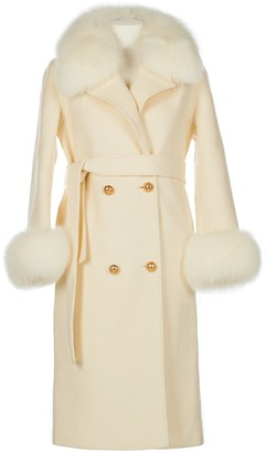 Popski London Cream Cashmere Fox Trim Coat