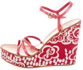 Miu Miu Embroidered Platform Sandals