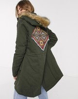 Thumbnail for your product : Brave Soul parka jacket with brown faux fur trim in khaki