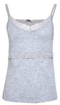 Dorothy Perkins Womens Grey Lace Trim Camisole Top, Grey