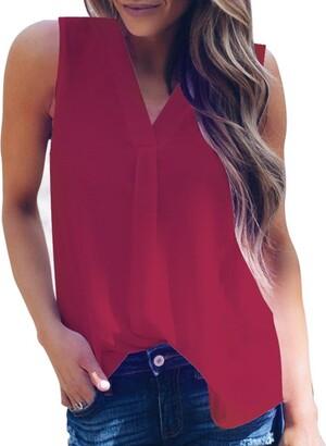 Deelin Women's Fashion Sexy Solid V-Neck Slim Sleeveless Irregular Hem Tank Chiffon Casual Daily Top Vest Blouse L