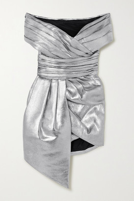 Alexandre Vauthier Off-the-shoulder Gathered Lame Mini Dress - Silver