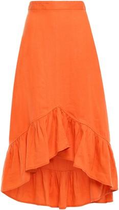 By Ti Mo Bytimo Asymmetric Ruffled Linen Midi Skirt