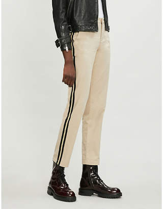 Zadig & Voltaire Pomelo mid-rise cropped metallic-striped cotton-twill trousers