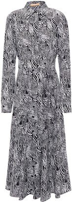 Michael Kors Zebra-print Silk Crepe De Chine Midi Shirt Dress