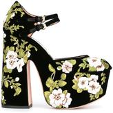 Rochas floral embroidery pumps