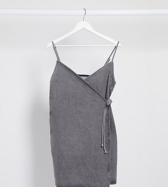 Asos Tall ASOS DESIGN Tall denim wrap cami dress in washed gray