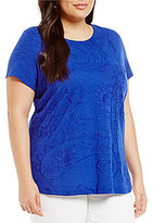 Allison Daley Plus Short Sleeve Paisley Embroidered Slub Knit Top
