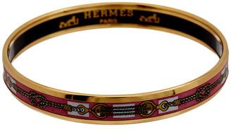 Hermes Gold-Plated & Printed Enamel Narrow Bangle