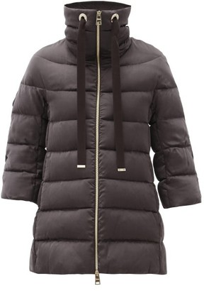 Herno Cropped-sleeve Quilted Down Jacket - Dark Brown