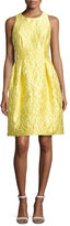 Carmen Marc Valvo Sleeveless Floral Brocade Cocktail Dress, Yellow