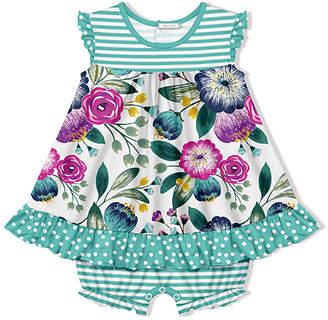 Little Millie Girls' Infant Bodysuits Famous - White & Turquoise Stripe Famous Floral Skirted Bubble Bodysuit - Infant