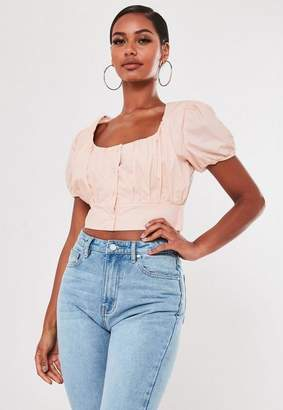 Missguided Blush Shirred Puff Sleeve Milkmaid Crop Top
