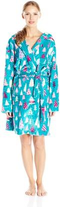 Little Blue House by Hatley Women's LBH Patterned Trees Adult Fleece Robes