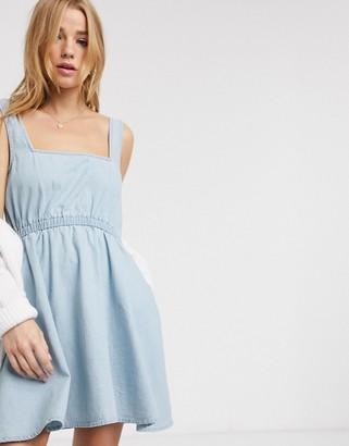 ASOS DESIGN soft denim square neck skater dress in lightwash blue