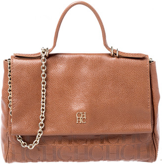 Carolina Herrera Brown Leather Minuetto Flap top Handle Bag