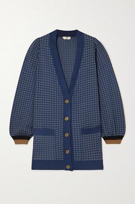 Fendi Checked Silk-blend Jacquard-knit Cardigan - Blue