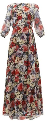 Erdem Lamara Poppy Collage-print Silk Gown - Black Multi
