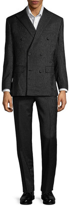 Brioni Wool, Mohair, & Silk-Blend Pinstripe Suit With Flat Pant