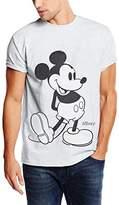Disney Men's Mickey Mouse Classic Kick B&W T-Shirt
