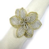 Excell Silver and Gold Beaded Poinsettia Napkin Rings (Set of 4)