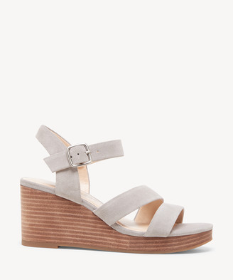 Sole Society Women's Charvi Asymmetrical Strap Wedges Soft Grey Size 5 Suede From