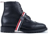 Thom Browne Pebble Grain Leather Classic Wingtip Boots with Commando Sole & Grosgrain Straps