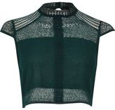 River Island Womens Dark green lace panel high neck crop top