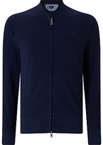 Gant Pique Cotton Full Zip Jumper, Navy