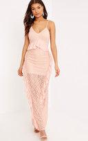 PrettyLittleThing Pheobie Blush Lace Frill Detail Maxi Dress