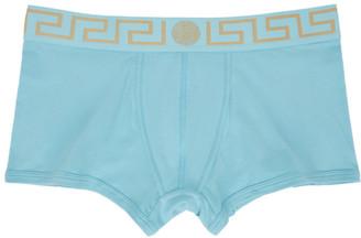 Versace Underwear Blue Greca Border Boxer Briefs