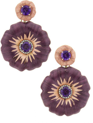 Silvia Furmanovich 18k Sculptural Botanical Marquetry 2-Flower Earrings