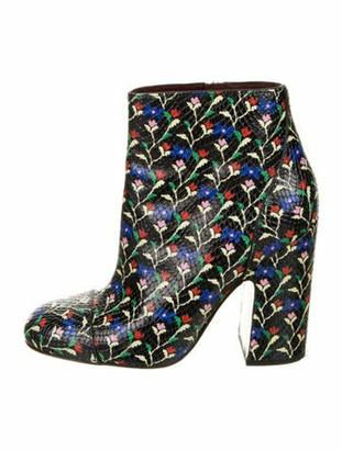 Marc Jacobs Leather Floral Print Boots Black